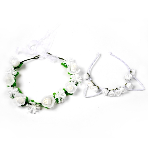 Holylove 2pcs Flower Car Ear Headband Hair Wreath for Women Photography Weddings Festival Party Garland Crown Headpiece White
