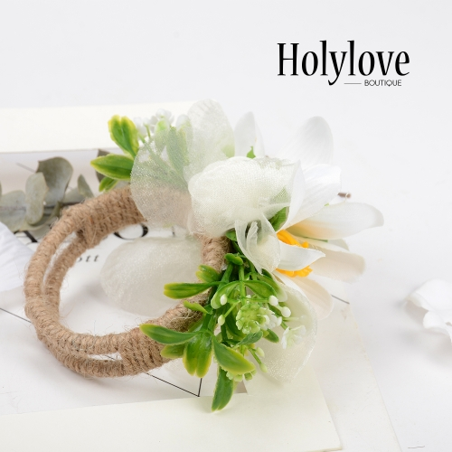Holylove Prom/Wedding Hawaiian Sweet Love Flower Wrist Corsage, Faux Pearl Bracelet