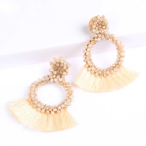 Holylove 3 Color Tassel Beads Statement Hoop Handmade Drop Dangle Earrings for Women White for Daily Wedding Party With Gift Box