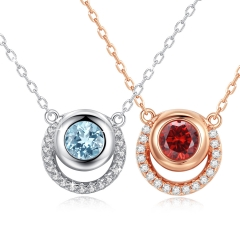 Holylove 2 Color 925 Sterling Silver Necklace for Women Ladies Girls 18K White Gold Blue Topaz Fashion Jewelry 1Pc with Gift Box