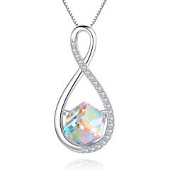 Holylove 925 Sterling Silver Necklace for Women Austrian Crystal Infinity Love Pendant 18K White Gold Y-Necklace Jewelry 1Pc with Gift Box