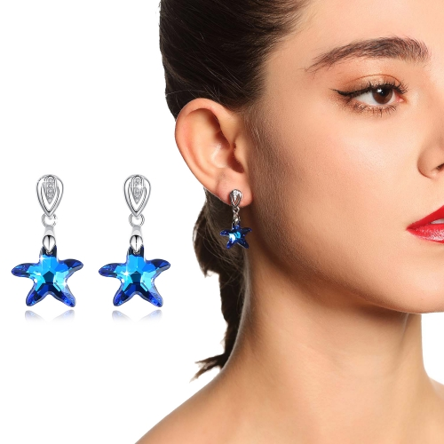 Holylove 2 Color 925 Sterling Silver Earrings Austrian Crystals Starfish Shape for Women Valentine Mother Present 1 Pair with Gift Box