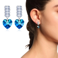 Holylove 2 Color Austrian Crystal Earrings for Women Jewelry Valentine Mother Day Present 1 Pair with Gift Box