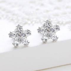 Holylove 925 Sterling Silver Earrings for Women Girls 18K White Gold 5A CZ Star Pierced Ear Studs Fine Jewelry 1 Pair with Gift Box