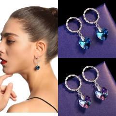 Holylove 2 Color Women Earrings Austrian Crystal Heart Shape Jewelry 1 Pair Valentine Mother Day Present with Gift Box