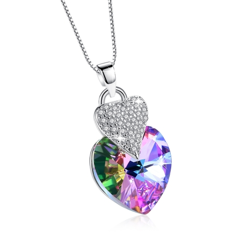 "Holylove Heart Necklace 925 Sterling Silver Y-Necklace for Women Girl Purple Crystal Pendant 18"" Box Chain Mother Day Present in Gift Box"
