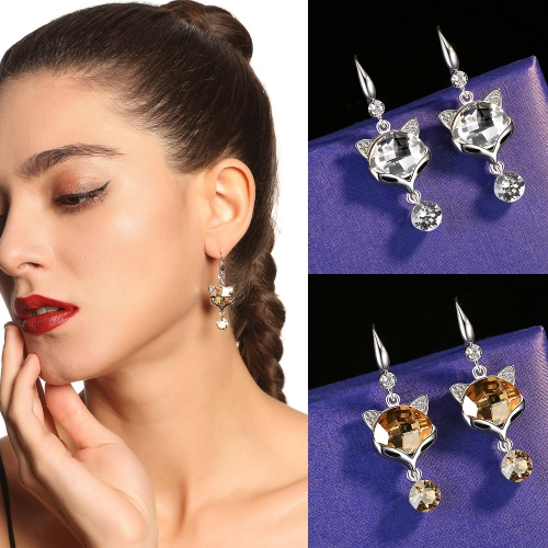 Holylove 2 Color Fox Animal Earrings for Women Austrian Crystal Dangle Jewelry Valentine Mother Day 1 Pair with Gift Box