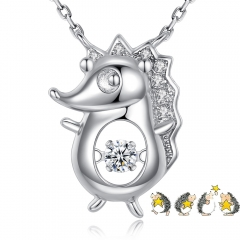 Holylove 925 Sterling Silver Necklace for Women Animal Hedgehog Pendant Dancing Heart Jewelry Fashion Accessories in Gift Box
