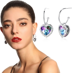 Holylove 2 Color Love Heart Earrings for Women Austrian Crystal Jewelry 1 Pair Valentine Mother Day Present with Gift Box