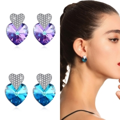 Holylove 2 Color Heart Shape Earrings for Women 925 Sterling Silver Austrian Crystals Ear Studs Jewelry Valentine Mother Present 1 Pair with Gift Box