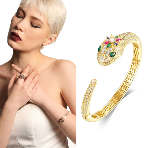 Holylove 2 Color Women Statement Snake Bracelet Cuff Bangle Gold Plated Cubic Zirconia Fashion Fine Jewelry Accessories 1 Piece with Gift Box