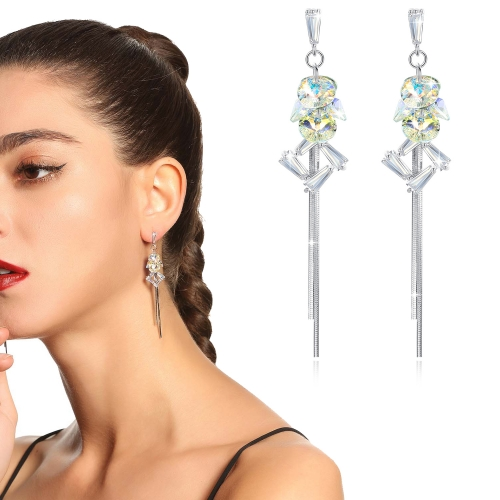 Holylove 2 Color Women Earrings Austrian Crystal Dangle Drop Ear Jewelry Valentine Mother Present 1 Pair with Gift Box