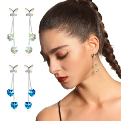 Holylove 2 Color Butterfly Shape 925 Sterling Silver Earrings for Women Austrian Crystal Jewelry Valentine Mother Day Present 1 Pair with Gift Box