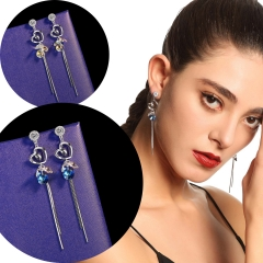 Holylove 2 Color Women Earrings 2 Color Austrian Crystal Ear Jewelry Heart Tassel Fashion Accessories 1 Pair with Gift Box