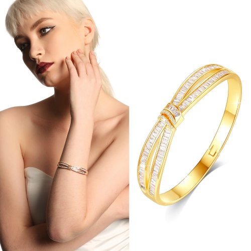 Holylove 3 Color Women Statement Bracelet Cuff Bangle Gold Plated Cubic Zirconia Fashion Fine Jewelry Accessories 1 Piece with Gift Box