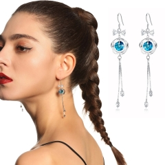 Holylove 2 Color Austrian Crystal Earrings for Women 925 Silver Jewelry Accessories 1 Pair with Gift Box