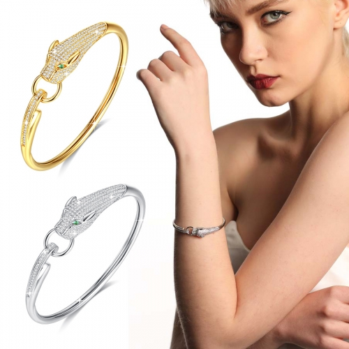 Holylove 2 Color Women Statement Panther Bracelet Cuff Bangle Gold Plated Cubic Zirconia Fashion Fine Jewelry Accessories 1 Piece with Gift Box