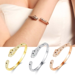 Holylove 3 Color Women Statement Panther Bracelet Cuff Bangle Gold Plated Cubic Zirconia Fashion Fine Jewelry Accessories 1 Piece with Gift Box