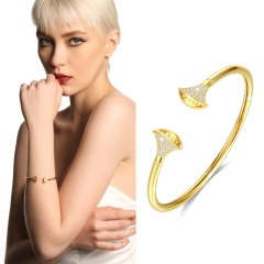 Holylove 2019 Statement Ginkgo Cuff Bangle Bracelet Gold Plated 5A Cubic Zirconia for Women Fine Fashion Jewelry Accessories