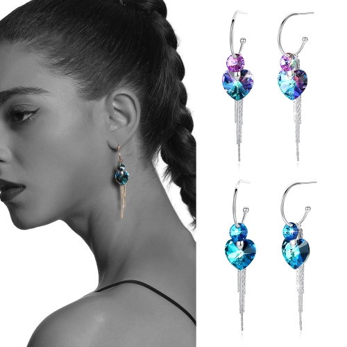 Holylove 2 Color Women Earrings Austrian Crystal 925 Sterling Silver Jewelry Valentine Mother Day Present 1 Pair with Gift Box
