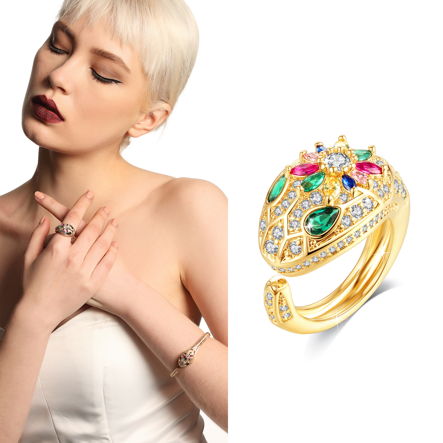 Holylove 2 Color Women Statement Open Ring Snake Gold Plated Colorful Cubic Zirconia Fashion Fine Jewelry Accessories 1 Piece with Gift Box