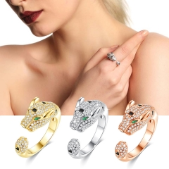 Holylove 3 Color Women Statement Open Ring Panther Gold Plated Cubic Zirconia Jewelry Accessories 1 Piece with Gift Box