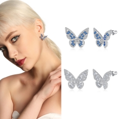 Holylove 2 Color Women Statement Butterfly Stud Earrings Silver Plated Blue Cubic Zirconia Fashion Fine Jewelry Accessories 1 Pair with Gift Box