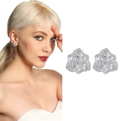 Holylove Women Statement Pansy Stud Earrings Silver Plated Cubic Zirconia Fashion Fine Jewelry Accessories 1 Pair with Gift Box