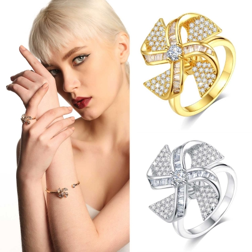 Holylove 2 Color Women Statement Fidget Ring Pinwheel Gold Plated Cubic Zirconia Jewelry Accessories 1 Piece with Gift Box