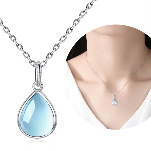 Holylove Water Drop Shape Blue Topaz 925 Sterling Silver Chain with 18K White Gold Plated Fine Jewelry Accessories 1 Piece with Gift Box