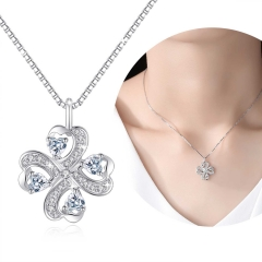 Holylove Lucky Four-Leaf Clover Shape 4 Hearts 925 Sterling Silver 5A Cubic Zirconia with 18K White Gold Plated Fine Jewelry Accessories 1 Piece