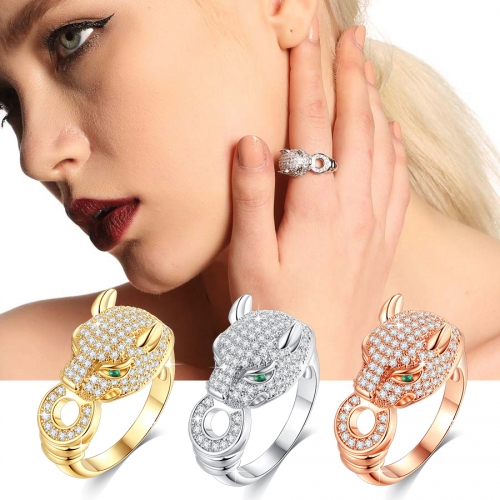 Holylove 3 Color Women Statement Band Ring Panther Gold Plated Cubic Zirconia Jewelry Accessories 1 Piece with Gift Box