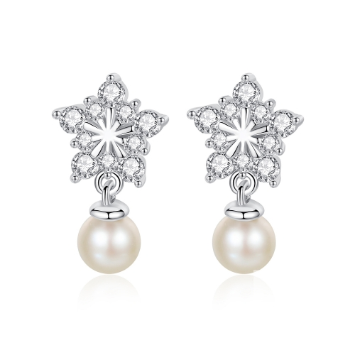 Holylove Star Shape 925 Sterling Silver Earrings with 18K White Gold Plated Pearl 5A Cubic Zirconia Fine Jewelry 1 Piece with Gift Box