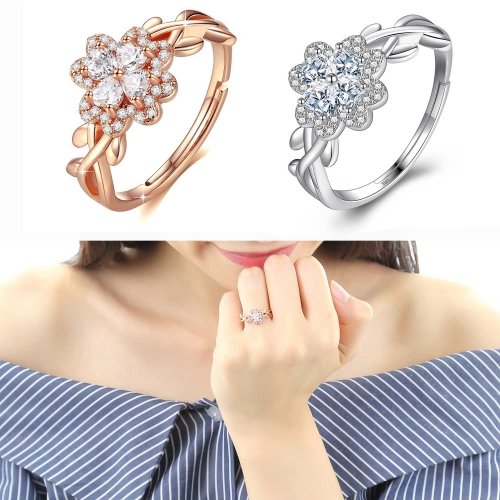 Holylove Lucky Four-Clover 925 Sterling Silver Ring with 18K White Gold Plated 5A Cubic Zirconia Adjustable Open Size Fine Jewelry Accessories 1 Piece