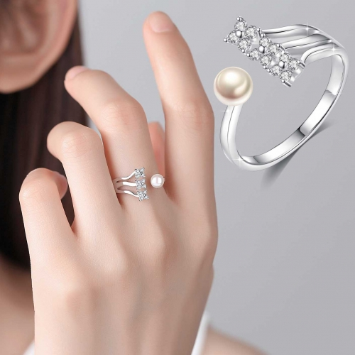 Holylove 925 Sterling Silver Ring with 18K White Gold Plated Pearl Adjustable Open Size Fine Jewelry Accessories 1 Piece with Gift Box