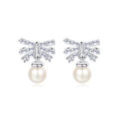 Holylove Bowknot Shape 925 Sterling Silver Earrings with 18K White Gold Plated Pearl 5A Cubic Zirconia Fine Jewelry 1 Piece with Gift Box