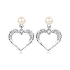 Holylove Heart Shape 925 Sterling Silver Earrings with 18K White Gold Plated Pearl 5A Cubic Zirconia Fine Jewelry 1 Piece with Gift box