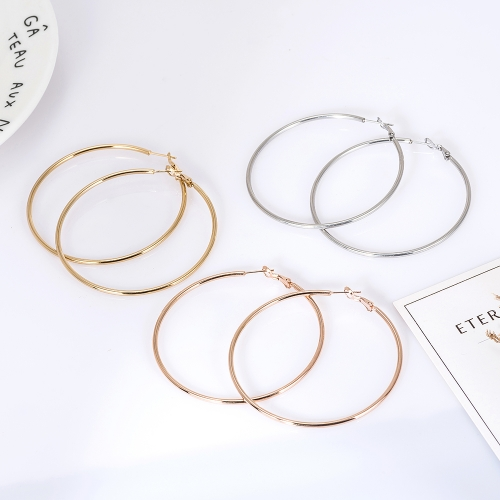 Holylove 3 Pairs Set Big Hoop Stainless Steel Statement Earrings for Women Plated Gold Rose Gold Silver in Gift Box