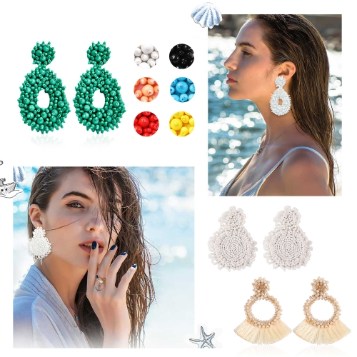 Holylove 30 Candy Colors Women Statement Earrings Handmade Beaded Tassels Dangle Earrings