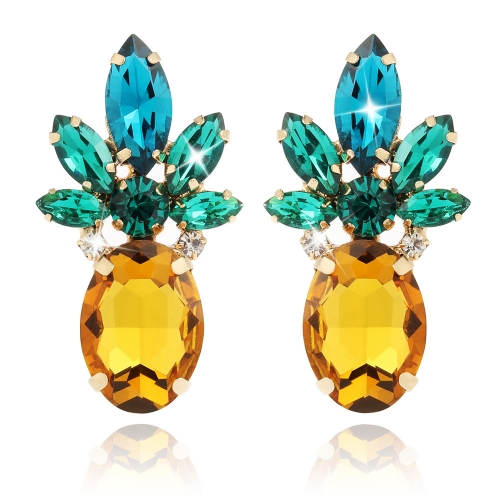 Holylove Pineapple Earrings Jewelry Vibrant Color with Crystal & Glass Beads for Beach Wedding Party Outfits with Gift Box