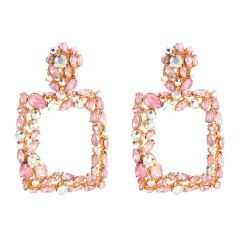 Holylove 5 Colors Gorgeous Crystal Stone Rhinestone Statement Earrings for Women Daily Wedding Party Club Holiday 1 Pair with gift box