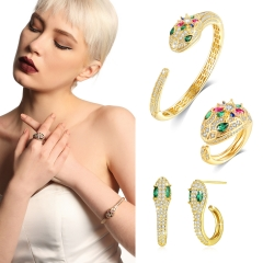 Holylove 3 Color Statement Women Jewelry Set Bracelet Ring Earrings Brass with 18K Gold Plated