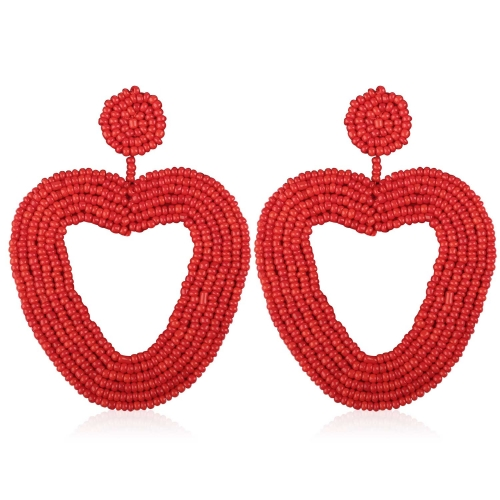 Holylove Statement Beaded Drop Hoop Earrings for Women Handmade Heart Shape Novelty for Daily Holiday Party Meeting Club with gift box