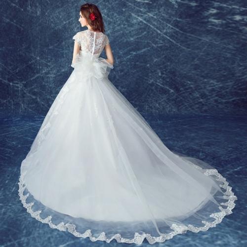 Luxurious Wedding Dresses long Tail A Line V Neck Floor Length ...