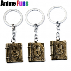 Anime Gravity Falls Journal 3 Dipper Diary Logo Keyring Pendant keychain key holder for women man children Charm Gift drop-ship