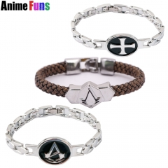 Game Assassins Creed III Templar Syndicate Ezio Punk Leather Wristband Bracelet