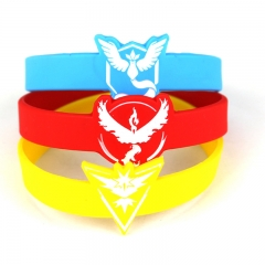 100pcs/set 3 Types Pokemon Go Silicone Wristbands Team Instinct Mystic Valor Bracelets Pikachu Bangles