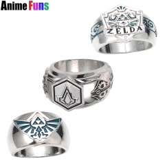 Game The Legend of Zelda Assassins Creed Templar Order Logo Ring Ezio Cosplay Jewelry
