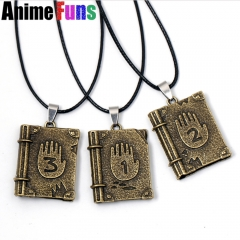 Anime Gravity Falls Journal 3 Dipper Diary Logo Necklace Pendant Choker Necklace for women man children Charm Gift drop-shipping