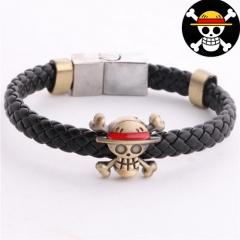 Anime One Piece Luffy Weave Leather Death Skull Logo Bracelet